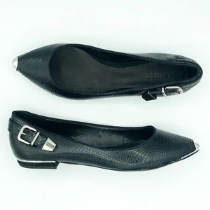 NWT Schutz Snake Embossed Leather Pointy Flats 8B
